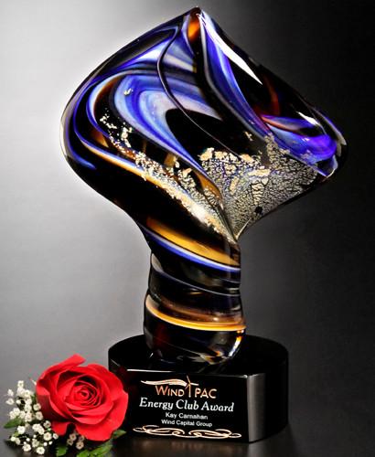 "Art Glass Trophy - Golden Twist | Artistic Corporate Award - 11"""