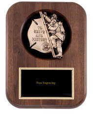 Fireman Casting Wood Plaque