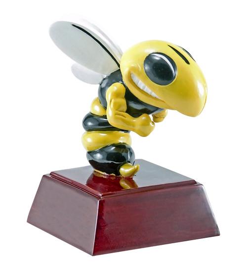 Hornet Mascot Sculptured Trophy | Engraved Hornet Award - 4 Inch Tall