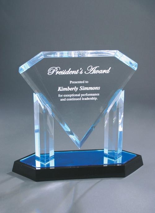 Floating Diamond Acrylic Award - Small / Blue