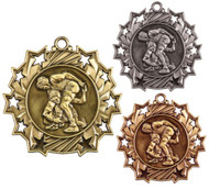 Wrestling Ten Star Medal - Gold, Silver or Bronze | Wrestler 10 Star Medallion | 2.25 Inch Wide