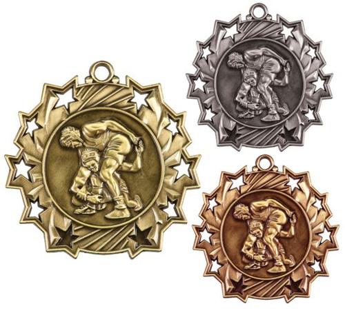 Wrestling Ten Star Medal - Gold, Silver or Bronze | Wrestler 10 Star Medallion | 2.25 Inch Wide