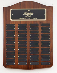 Perpetual Plaque - Genuine Walnut with arched top and 48 Black Brass Plates