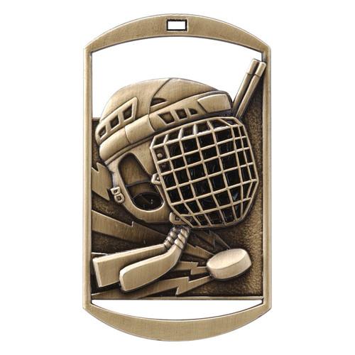 "Hockey Dog Tag Medal - Gold, Silver & Bronze | Engraved Ice Hockey Medal | 1.5"" x 2.75"""