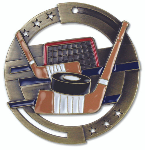 Hockey M3XL Medal | Engraved Ice Hockey Medallion | 2.75 Inch Wide