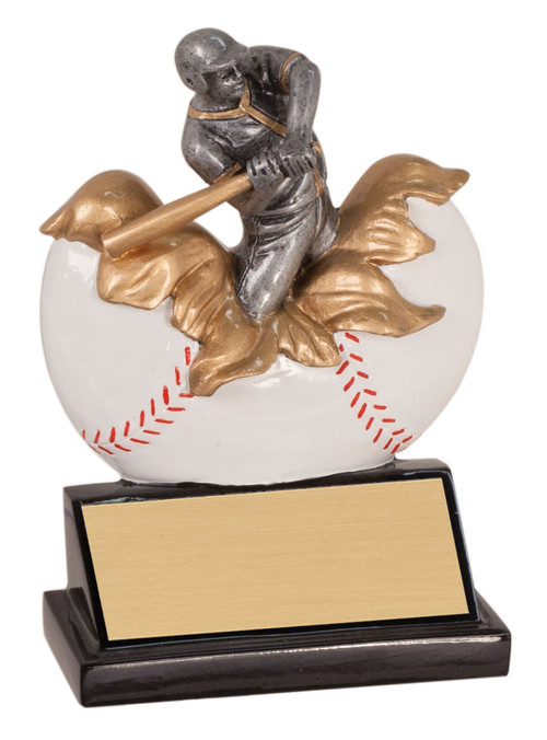 Baseball Xploding Action Trophy | Engraved Baseball Award - 5.25 Inch Tall
