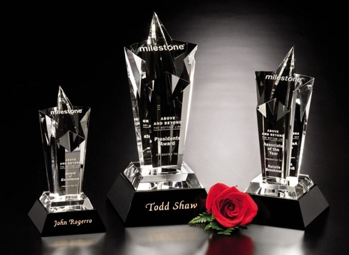 "Acclaim Star Crystal Trophy   Star Corporate Award - 8"", 10"" & 12"""