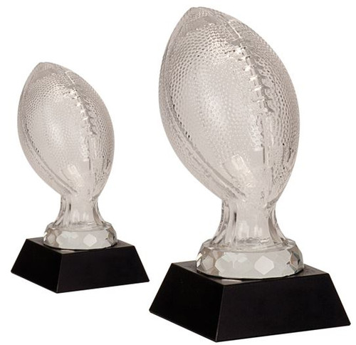 Football Glass Award - Black Marble Base in 2 sizes
