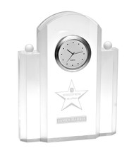 Silvertone Clock Crystal Award - Engraved
