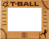 T-Ball NAMES Personalized Wood Picture Frame - Personalized