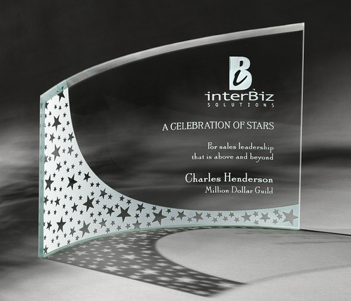 """Breeze Plaque Crystal Corporate Award - 7.75"""" & 9"""" - Engraved"""