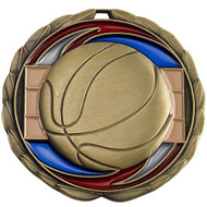 Basketball Color Epoxy Medal - Gold | Engraved Hoops Medallion | 2.5 Inch Wide  Basketball Color Epoxy Medal - Gold
