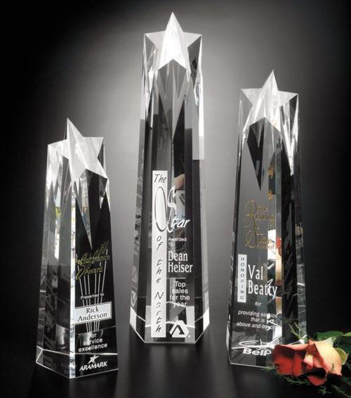 "Polaris Star Tower Crystal Trophy | Star Corporate Award - 10"", 12"" & 14"""