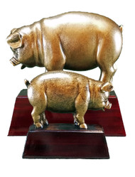 Pig Mascot Sculptured Trophy | Engraved BBQ Smoke Off Competition Award - 4 & 6 Inch Tall