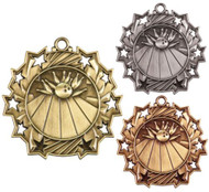 Bowling Ten Star Medal - Gold, Silver or Bronze | Bowler 10 Star Medallion | 2.25 Inch Wide