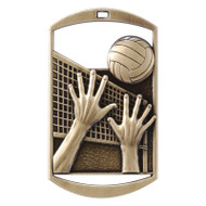 "Volleyball Dog Tag Medal - Gold, Silver or Bronze | Engraved Spike & Dig Medal | 1.5"" x 2.75"""