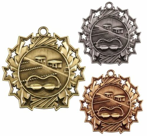 Swimming Ten Star Medal - Gold, Silver or Bronze | Swim Meet 10 Star Medallion | 2.25 Inch Wide