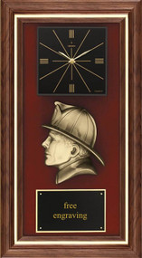 Fireman American Tribute Framed Clock Plaque