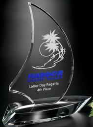 """Sailboat Crystal Corporate Award - Small 8"""""""