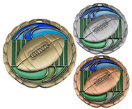 Football Color Epoxy Medal - Gold, Silver or Bronze | Engraved Gridiron Medallion | 2.5 Inch Wide