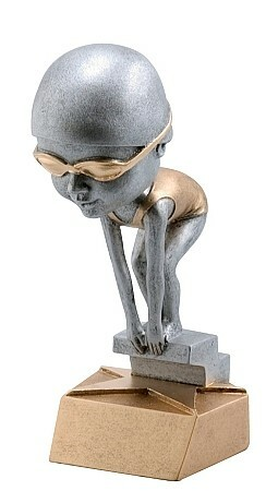 Pewter Swimming Bobblehead Trophy -  Female