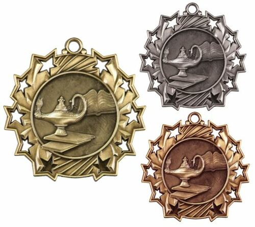 Academic Ten Star Medal - Gold, Silver or Bronze | Engraved Scholastic 10 Star Medallion | 2.25 Inch Wide
