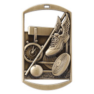 "Track & Field Dog Tag Medal - Gold, Silver & Bronze | Engraved Field Events Medal | 1.5"" x 2.75"""