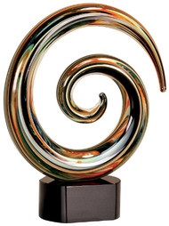 Art Glass Trophy - Swirl | Art Glass Corporate Award - 7.5""