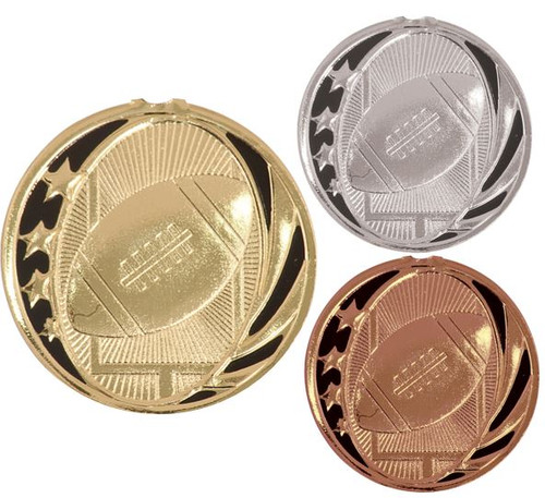 Football MidNite Star Medal - Gold, Silver & Bronze | Engraved Gridiron Medallion | 2 Inch Wide