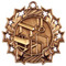 Gymnastics Ten Star Medal - Gold, Silver or Bronze | Gymnastics 10 Star Medallion | 2.25 Inch Wide Gymnastics Ten Star Medal - Bronze