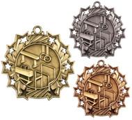 Gymnastics Ten Star Medal - Gold, Silver & Bronze | Gymnastics 10 Star Award | 2.25 Inch Wide