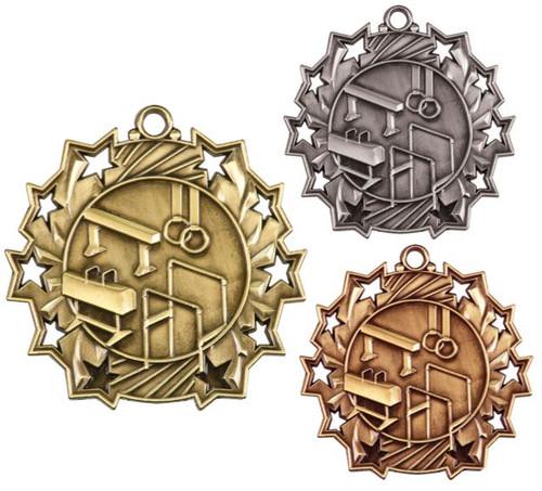 Gymnastics Ten Star Medal - Gold, Silver or Bronze | Gymnastics 10 Star Medallion | 2.25 Inch Wide