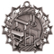 Gymnastics Ten Star Medal - Gold, Silver or Bronze | Gymnastics 10 Star Medallion | 2.25 Inch Wide Gymnastics Ten Star Medal - Silver