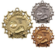 Basketball Ten Star Medal - Gold, Silver or Bronze | Hoops 10 Star Medallion | 2.25 Inch Wide