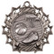 Basketball Ten Star Medal - Gold, Silver or Bronze | Hoops 10 Star Medallion | 2.25 Inch Wide Basketball Ten Star Medal - Silver