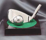 Golf Nickel Plated Iron & Ball Trophy