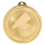 Cheer BriteLazer Medal - Gold, Silver & Bronze | Engraved Spirit Medallion | 2 Inch Wide Cheer BriteLazer Medal - Gold