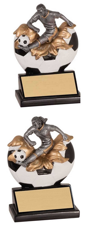 Soccer Xploding Action Trophy - Male / Female   Engraved Fútbol Award - 5/25 Inch Tall