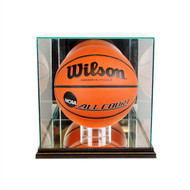 Engraved Basketball Glass Display Case - Black Trim