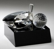 Crystal Golf Ball and Club on Black Base Trophy