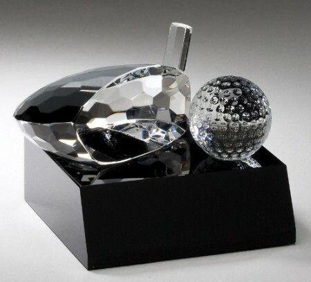 Crystal Golf Ball and Club on Black Base Trophy