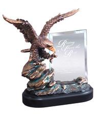 Eagle on Rock Story Glass Award | Striking Eagle Hero Award - 9.5 Inch Tall