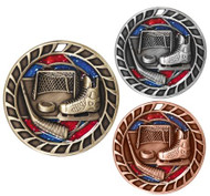 Hockey Glitter Medal - Gold, Silver & Bronze | Engraved Ice Hockey Sparkly Medallion | 2.5 Inch Wide