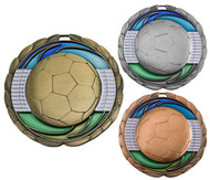Soccer Color Epoxy Medal - Gold, Silver or Bronze | Engraved Futbol Medallion | 2.5 Inch Wide