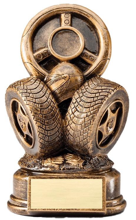 Racing Steering Wheel & Tires Award | Engraved Auto Award - 8.5 Inch Tall