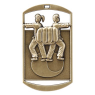 "Martial Arts Dog Tag Medal - Gold, Silver & Bronze | Engraved Karate Medal | 1.5"" x 2.75"""
