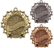 Perfect Attendance Ten Star Medal - Gold, Silver & Bronze | Student Recognition 10 Star Award | 2.25 Inch Wide Perfect Attendance Ten Star Medal - Gold, Silver & Bronze