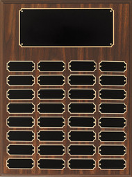 Perpetual Plaque - Walnut Finish with 32 Black Brass Engraving Plates