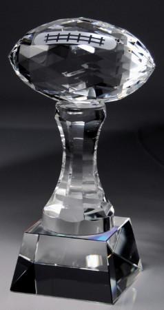 Football Crystal Trophy   Crystal Football Award   9 Inch Tall
