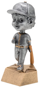 Pewter Finish Softball Bobblehead Trophy